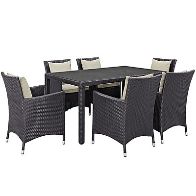 Modway Convene 7 Piece Outdoor Patio Dining Set in Espresso Beige (889654062745)