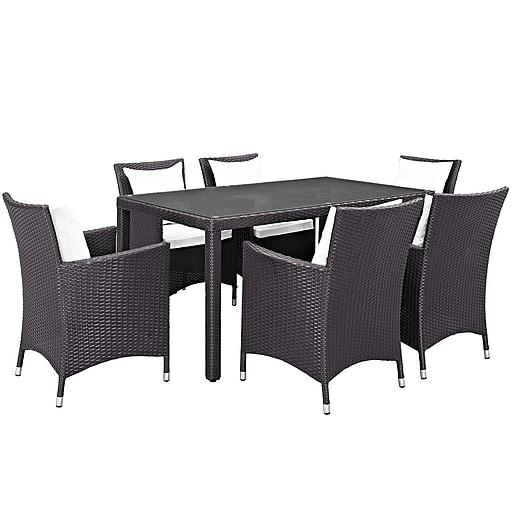 Modway Convene 7 Piece Outdoor Patio Dining Set in Espresso White (889654062806)