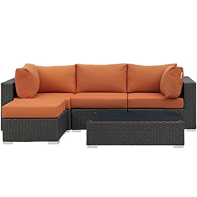 Modway Sojourn 5 Piece Outdoor Patio Sunbrella® Sectional Set in Canvas Tuscan (889654026181)