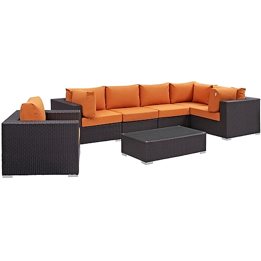 Modway Convene 7 Piece Outdoor Patio Sectional Set in Espresso Orange (889654044468)