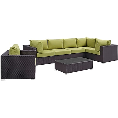 Modway Convene 7 Piece Outdoor Patio Sectional Set in Espresso Peridot (889654044475)