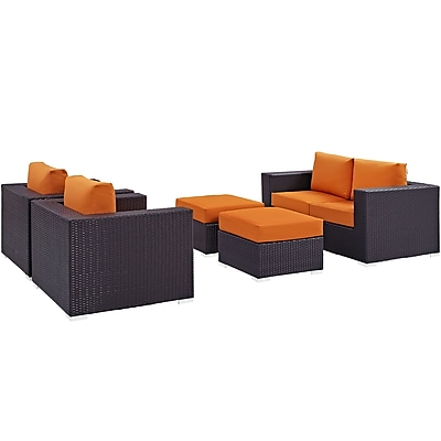 Convene 5 Piece Outdoor Patio Sofa Set in Espresso Orange (889654044536)