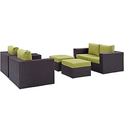 Convene 5 Piece Outdoor Patio Sofa Set in Espresso Peridot (889654044543)
