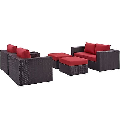 Convene 5 Piece Outdoor Patio Sofa Set in Espresso Red (889654044550)