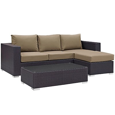 Modway Convene 3 Piece Outdoor Patio Sofa Set in Espresso Mocha (889654045878)