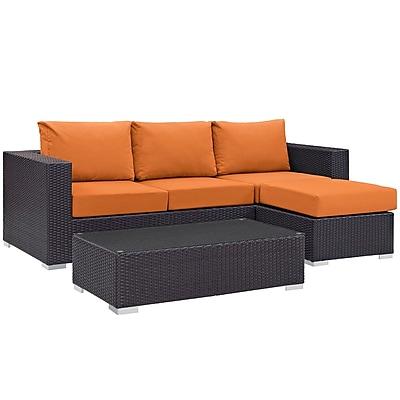 Modway Convene 3 Piece Outdoor Patio Sofa Set in Espresso Orange (889654045885)