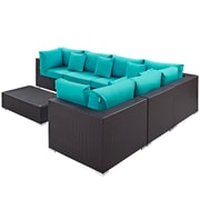 Convene 7 Piece Outdoor Patio Sectional Set in Expresso Turquoise (889654045267)