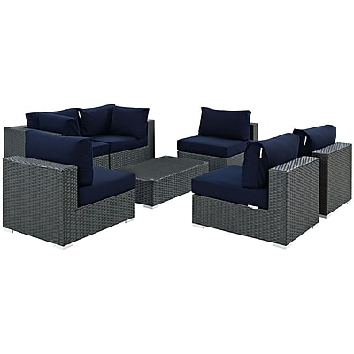 Modway Sojourn 7 Piece Outdoor Patio Sunbrella® Sectional Set in Canvas Navy (889654025993)