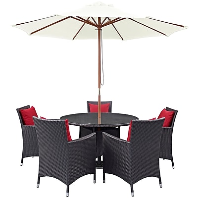 Modway Convene 7 Piece Outdoor Patio Dining Set in Espresso Red (889654055754)