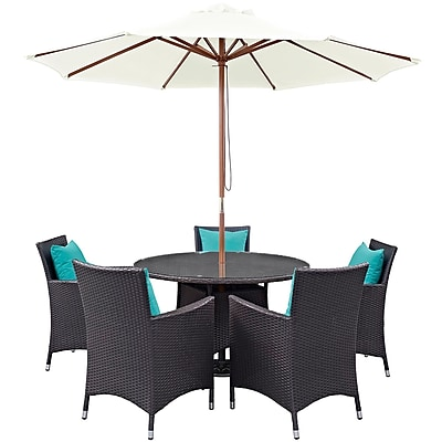 Modway Convene 7 Piece Outdoor Patio Dining Set in Espresso Turquoise (889654055761)