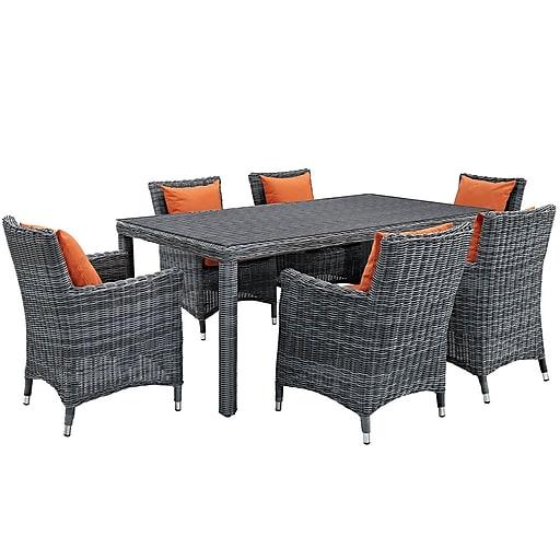 Modway Summon 7 Piece Outdoor Patio Sunbrella® Dining Set in Canvas Tuscan (889654069119)