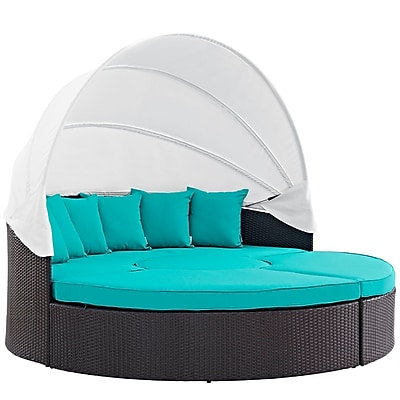 Modway Convene Canopy Outdoor Patio Daybed in Espresso Turquoise (889654045595)
