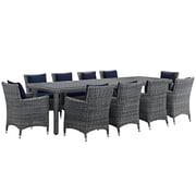 Modway Summon 11 Piece Outdoor Patio Sunbrella® Dining Set in Canvas Navy (889654069164)