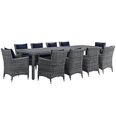 Modway Summon 11 Piece Outdoor Patio Sunbrella® Dining Set in Canvas Navy (889654069164)