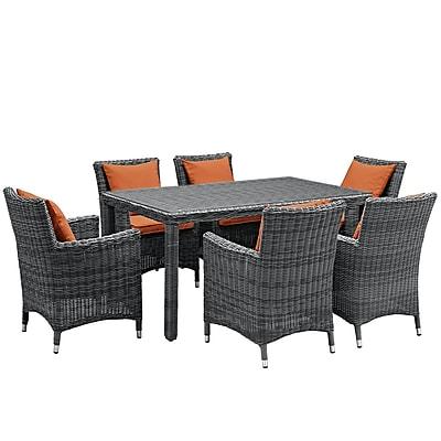 Modway Summon 7 Piece Outdoor Patio Sunbrella® Dining Set in Canvas Tuscan (889654069232)