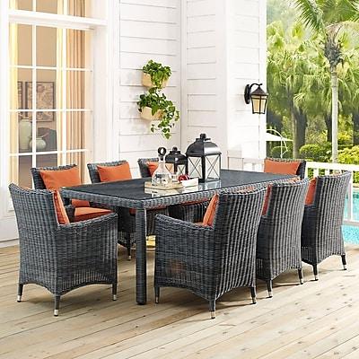 Summon 9 Piece Outdoor Patio Sunbrella® Dining Set in Canvas Tuscan (889654069140)