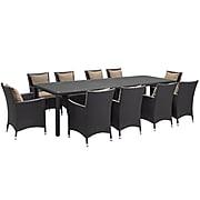 Modway Convene 11-Piece Outdoor Patio Dining Set, Espresso Mocha (889654062615)