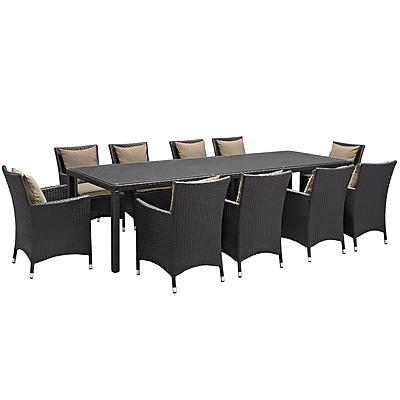 Modway Convene 11 Piece Outdoor Patio Dining Set in Espresso Mocha (889654062615)