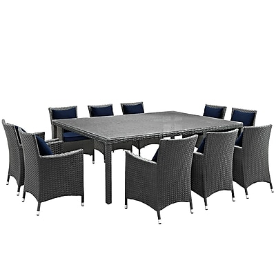 Modway Sojourn 11 Piece Outdoor Patio Sunbrella® Dining Set in Canvas Navy (889654066873)