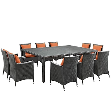 Modway Sojourn 11 Piece Outdoor Patio Sunbrella® Dining Set in Canvas Tuscan (889654066880)