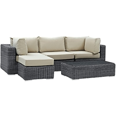 Modway Summon 5 Piece Outdoor Patio Sunbrella® Sectional Set in Canvas Antique Beige (889654026556)