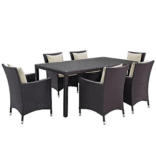 Modway Convene 7 Piece Outdoor Patio Dining Set in Espresso Beige (889654060369)
