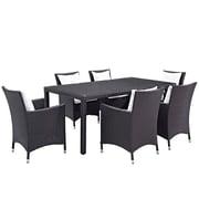 Modway Convene 7 Piece Outdoor Patio Dining Set in Espresso White (889654060420)