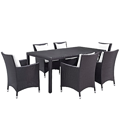 Modway Convene 7 Piece Outdoor Patio Dining Set in Espresso White (889654060420)