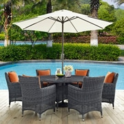 Summon 8 Piece Outdoor Patio Sunbrella® Dining Set in Canvas Tuscan (889654069089)