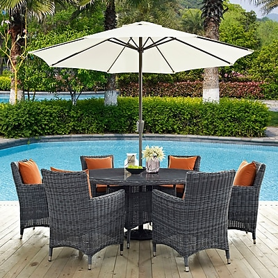 Summon 8 Piece Outdoor Patio Sunbrella® Dining Set in Canvas Tuscan (889654069089)