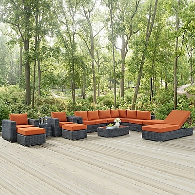 Summon 12 Piece Outdoor Patio Sunbrella® Sectional Set in Canvas Tuscan (889654026426)