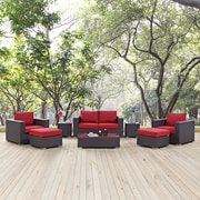 Convene 8 Piece Outdoor Patio Sofa Set in Espresso Red (889654044628)