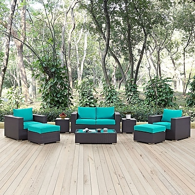 Convene 8 Piece Outdoor Patio Sofa Set in Espresso Turquoise (889654044635)
