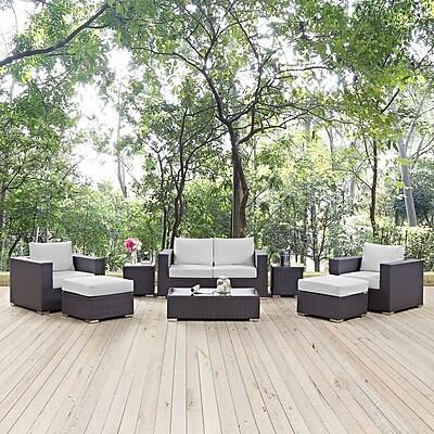 Convene 8 Piece Outdoor Patio Sofa Set in Espresso White (889654044642)