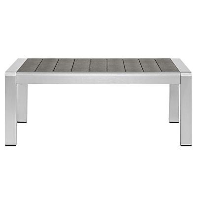 Shore Outdoor Patio Aluminum Coffee Table in Silver Gray (889654065111)