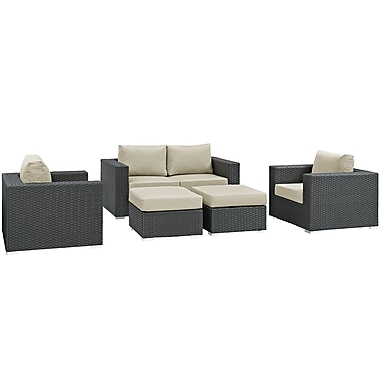 Modway Sojourn 5 Piece Outdoor Patio Sunbrella® Sectional Set in Canvas Antique Beige (889654025863)