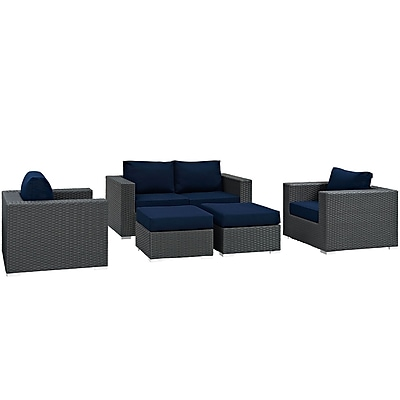 Modway Sojourn 5 Piece Outdoor Patio Sunbrella® Sectional Set in Canvas Navy (889654025870)