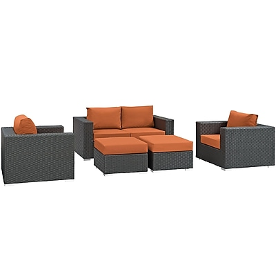 Modway Sojourn 5 Piece Outdoor Patio Sunbrella® Sectional Set in Canvas Tuscan (889654025887)