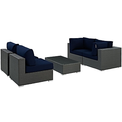 Modway Sojourn 5 Piece Outdoor Patio Sunbrella® Sectional Set in Canvas Navy (889654025962)