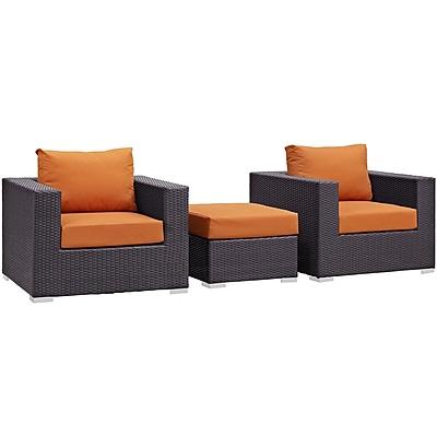 Modway Convene 3 Piece Outdoor Patio Sofa Set in Espresso Orange (889654045632)