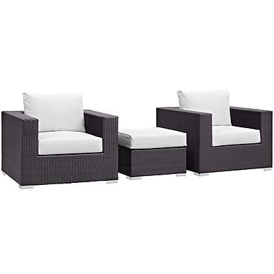 Modway Convene 3 Piece Outdoor Patio Sofa Set in Espresso White (889654045670)