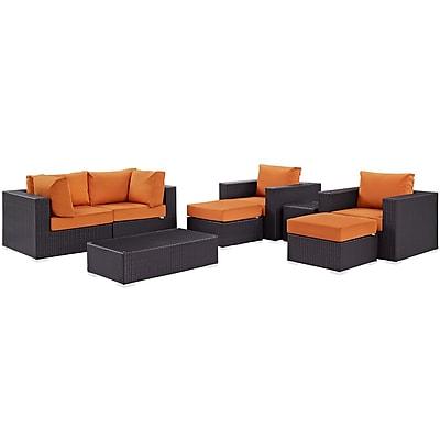Modway Convene 8 Piece Outdoor Patio Sectional Set in Espresso Orange (889654060871)