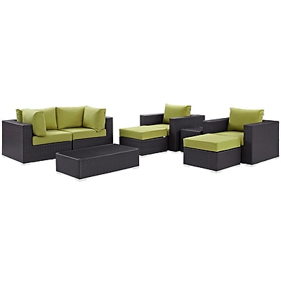 Modway Convene 8 Piece Outdoor Patio Sectional Set in Espresso Peridot (889654060888)
