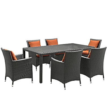 Modway Sojourn 7 Piece Outdoor Patio Sunbrella® Dining Set in Canvas Tuscan (889654066460)