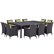 Modway Convene 11-Piece Outdoor Patio Dining Set, Espresso Peridot (889654062707)