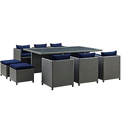Modway Sojourn 11 Piece Outdoor Patio Sunbrella® Dining Set in Canvas Navy (889654027676)