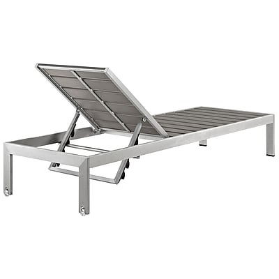 Shore Outdoor Patio Aluminum Chaise in Silver Gray (889654064688)