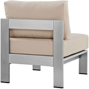 Shore Armless Outdoor Patio Aluminum Chair in Silver Beige (889654064916)