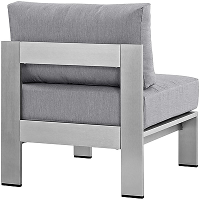 Shore Armless Outdoor Patio Aluminum Chair in Silver Gray (889654064923)