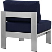 Shore Armless Outdoor Patio Aluminum Chair in Silver Navy (889654064930)